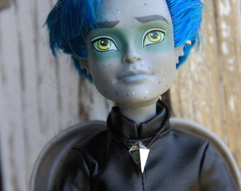 Spike Black  Cord Necklace Doll Jewelry for Boy Guy Petite Slimline & 1/6th Scale Male Fashion Dolls