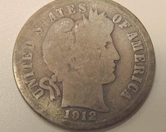 Antique 1912D Barber Dime - Collectable Dime, Vintage Dime, Collectable Coins, Silver USA Coins,  FREE Shipping