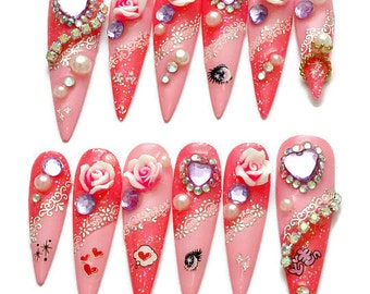 Stiletto nails, long nails, talons, claws, hime gyaru, Japanese 3D nail, photo shoot, party nails, bling, anime, gyaru nail, nail ring,