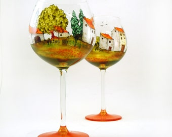 Wine glasses - Set of 2 hand painted glasses - Village Provencal collection