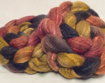 Hand dyed roving, BFL Tussah silk, Extra Soft fibre, Hand painted roving, hand dyed top, roving, felting, Spinning wool, colour; Treasured