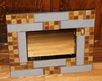 Speckled Blue and Brown/Tan Mosaic Mirror