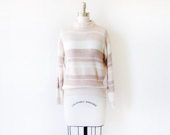 80s striped sweater, vintage pink and white sweater, chunky knit sweater, medium large