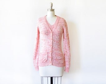 space dye cardigan sweater set, vintage 70s sweater set, 1970s coral cardgian, extra small xs