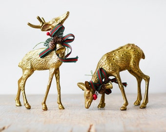 vintage brass deer figurines, pair of spotted brass deer, christmas holiday decor