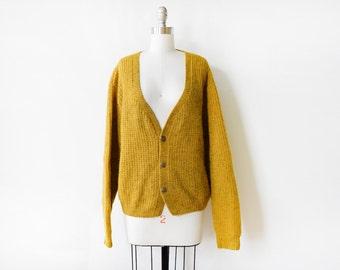 mustard cardigan, vintage wool cardigan, slouchy cardigan sweater