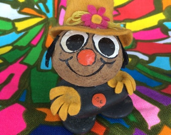 Groovy Hand Painted Rock 60's 70's Flower Power Hippie Man with Super Cool Tall Felt Hat
