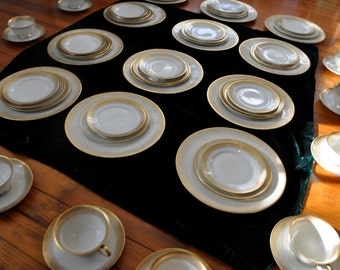 56 Pieces Rosenthal Porcelain Dinnerware/Place Setting For Twelve/Vintage 1960s/Aida Stardust Pattern/Fine German China/Cream and Gold