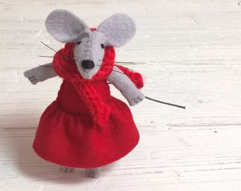 Scarf accessories for mice red turquoise pink brown tiny felt animal