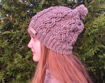 Crochet Cable Hat PATTERN - Pom-Pom - Cable Hat Pattern - Dreaming of the Slopes Hat