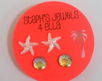 Beach Vacation Set Amber Yellow Iridescent Mermaid Sparkle Circle and Pearl White Starfish Earrings