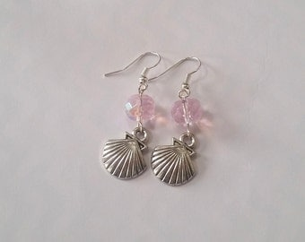 Boho Sunshine Shell Charm Earrings Hypo-Allergenic Ear Hooks with Sparkle Faceted Pink Beads