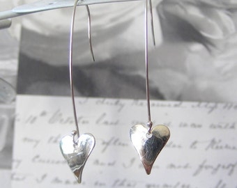 Fine Silver Heart Drop Earrings
