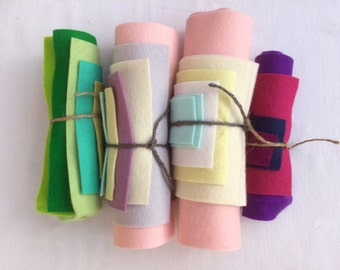 Pure Wool Felt Sheets Bundle - Off Cuts - Various Sizes - EN71 - Toy Making