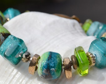 Reserve for Cheryl-CABOS-Handmade Lampwork, Artisan Gold Bronze, Gaspeite, Gold Pyrite and Sterling Silver Bracelet