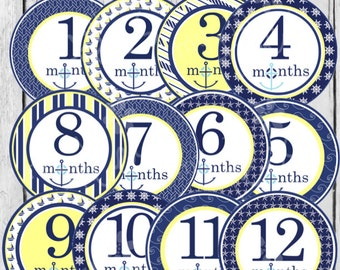MONTHLY IRON-ONS Decals or Monthly stickers - 12 Monthly decals - for Baby - Nautical - Navy & Yellow (Style#C06)