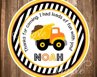 Dump Truck Favor Tags or Stickers, Construction Birthday Sticker, PRINTABLE Dump Truck Labels
