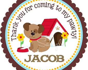 Puppy Stickers,Personalized Stickers or Gift Tags, Puppy Birthday Party, 3 designs available - Set of 12