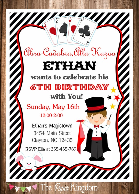Magician Party Invitation Magic Birthday Invitation PRINTABLE – Magic Party Invitations