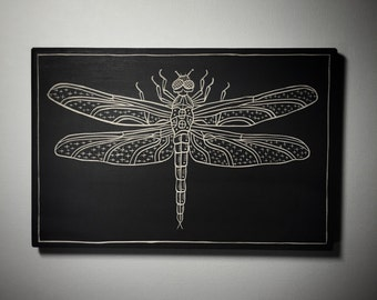 Hand Carved Dragonfly Woodcut Wall Art