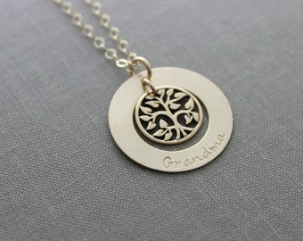 14k gold filled Grandma Washer Necklace with bronze family tree charm,  14k Gold fill chain  Gift idea for  Grandmother Mother's Day