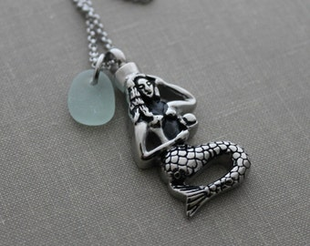 Mermaid Cremation Urn Pendant - Stainless Steel with Genuine Sea Glass - Personalized beach memorial Charm - Memorial for Beach Lover locket