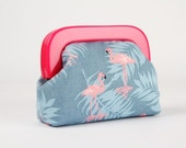 Little purse with resin frame - Flamingo on denim blue - Girly purse / Hot pink frame / Tropical birds / Peach pink grey blue