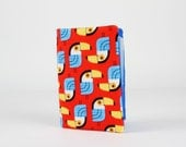Fabric card holder - Toucans in red / Kawaii fabric / Suzy Ultman / yellow turquoise blue black orange / tropical birds