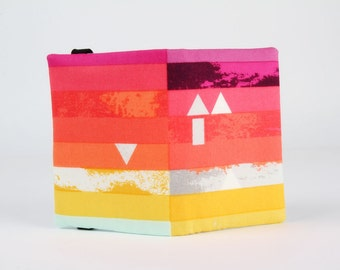 Fabric card holder - Steps above in prism / Avant Garde / pink coral red yellow stripes