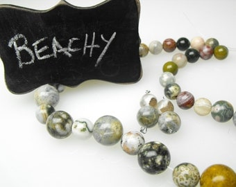 OCEAN JASPER BEADS 00424-5-6a precious gemstone natural obicular green white tan round diy necklace earring set kit smooth polished strand