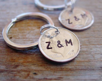 Dime Key Chain Set, Hand Stamped Dimes, Couples Initials, Set of 2,United States Dimes,Silver Gift,10 Year Anniversary Gift,10th Anniversary