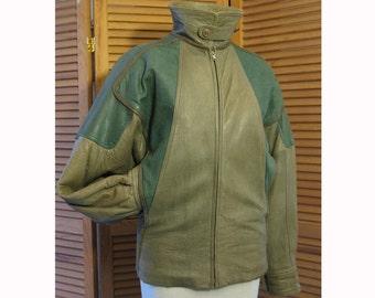 SPRING SALE!!! Vintage 1980 Giorgio Armani men's/ unisex green olive leather designer jacket S