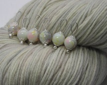 watercolor knitting stitch markers - snag free - pastel pink gray yellow glass beads 10mm - set of 6 - two loop sizes available