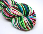 "Indie Rock Worsted Yarn - ""Nordic Holiday"" - Handpainted Superwash Merino - 218 yards"