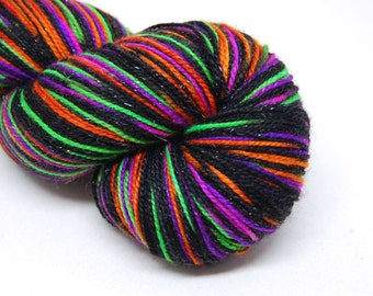 "Glam Rock Sparkle Sock Yarn - ""Ultrafright at Night"" -  Handpainted Superwash Merino - 438 Yards"