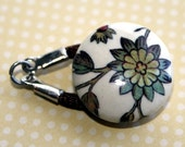 Blue Flower Vines Button Clasp - with brown nylon loop