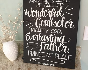 Isaiah 9:6 Canvas--Handlettered, Chalkboard Style, 16 x 20