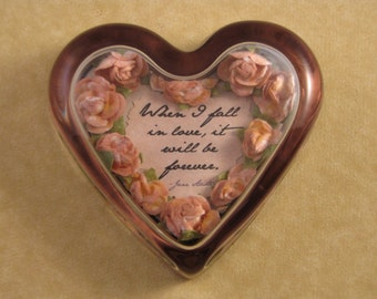Jane Austen Fall In Love Quote Paperweight Peach Rose Floral Glass Heart Wedding Anniversary Gift June Birthday