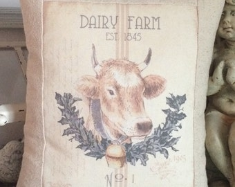 Farmhouse Dairy Farm Cow Grain Sack Stripe Pillow Cover. Shabby Chic Pillow Cover with Pillow Form, Cottage Cushion