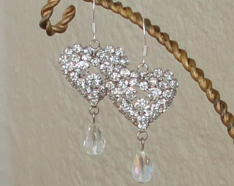 a BRIDES Gift RHINEstone Heart & Diamond Look Tear Drop WEDDing Maid Of Honor Bridal Mother Of Bride Chandelier  Earrings By DYEnamite