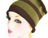 SALE knitted tube ski hat neck warmer dreads brown and khaki ,