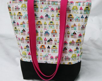 Tiny Houses on Pink- Insulated Lunch Bag-Tote-Eco-Friendly and Washable-Water and Mildew Resistant Interior -Extra Large-Tall Size