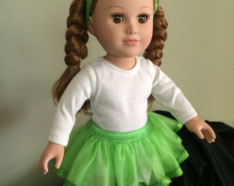 "SET: Green TuTu, Tights and Headband - 18"" Doll (American Girl or equivalent)"