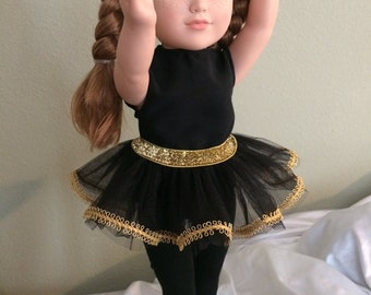 "SET: Black and Gold TuTu, Tights and Headband - 18"" Doll (American Girl)-Outfit"