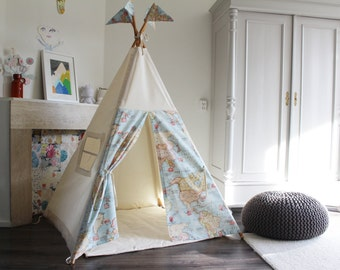 Play Teepee tent, Map Print teepee, MIDI size play tipi, boys teepee, fun teepee, beautiful teepee, childrens teepee, nursery decor, wigwam