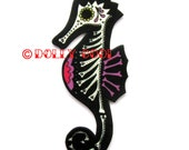 Seahorse Brooch Sugar Skull Day of The Dead by Dolly Cool