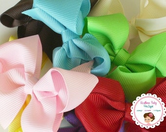 Newborn Little Baby Toddler Girl Hair Bows 2.5 inch---You Pick Clips and Colors---Set of 5---