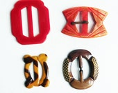 Vintage Lot of 4 Art Deco Celluloid / Plastic Buckles - Slide Belt Buckles from 1930s - Brown, Red, Swirls, Patterns, Fun Shapes & Colors