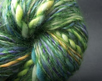 Spring, HandSpun and Hand dyed Yarn Extra Fine blend of Polwarth and Silk Wool wrapped, Thick and Thin bulky, Single, 90 yards