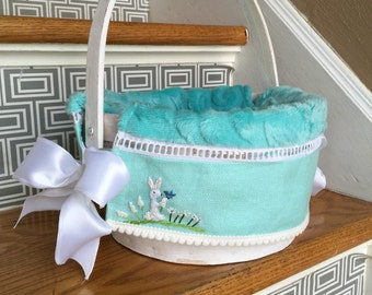 READY 9 inch heirloom white basket with Aqua liner hand embroidered and insertion lace